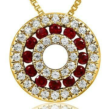 Ruby Disc Pendant with Diamond Accent Yellow Gold