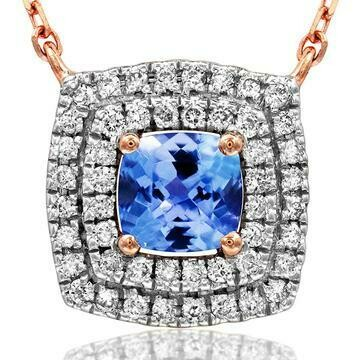 Cushion Tanzanite Necklace with Diamond Frame Rose Gold