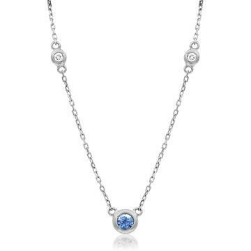 Diamond Bezel Tanzanite Necklace White Gold