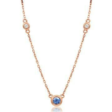 Diamond Bezel Tanzanite Necklace Rose Gold