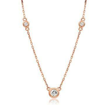 Diamond Bezel Gemstone Necklace Rose Gold