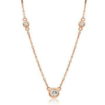 Diamond Bezel Gemstone Necklace Rose Gold
