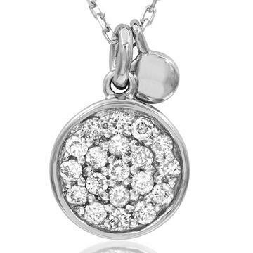 Diamond Pavé Circle Necklace White Gold