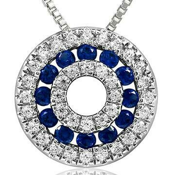 Blue Sapphire Disc Pendant with Diamond Accent White Gold