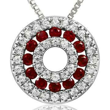 Ruby Disc Pendant with Diamond Accent White Gold