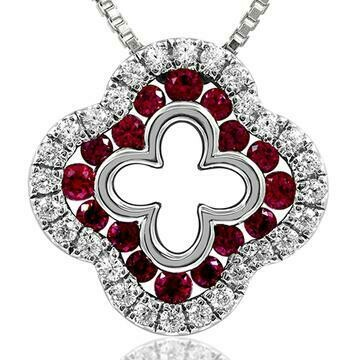 Clover Ruby Pendant with Diamond Accent White Gold