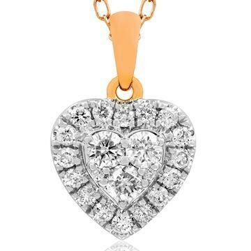 Heart Diamond Cluster Necklace 18K White Gold