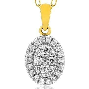 Round Diamond Necklace Yellow Gold
