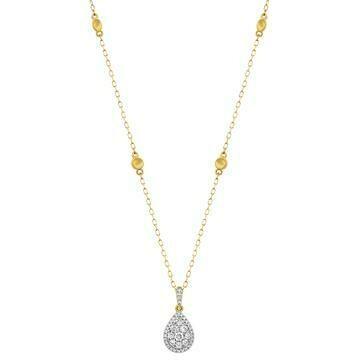 Diamond Teardrop Necklace Yellow Gold