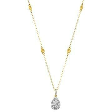 Diamond Teardrop Necklace Yellow Gold