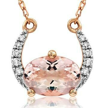 Crescent Moon Morganite Necklace with Diamond Accent Rose Gold