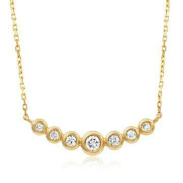 Diamond Bezel Necklace Yellow Gold