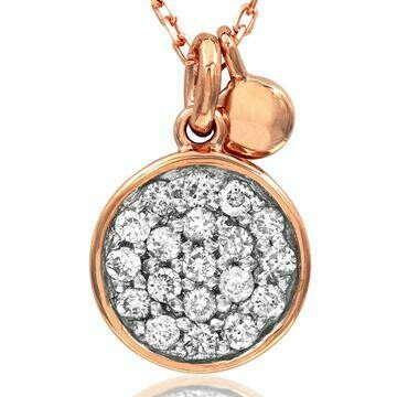 Diamond Pavé Circle Necklace Rose Gold
