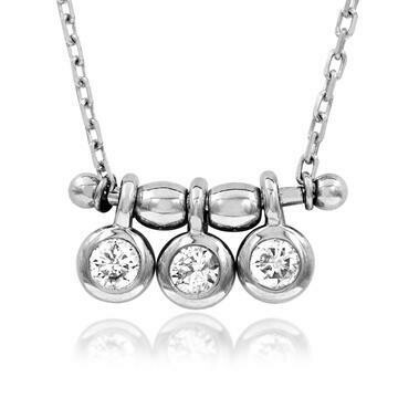 Three-Stone Dangle Diamond Necklace White Gold