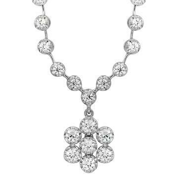 Diamond Illusion Floral Necklace 18k White Gold