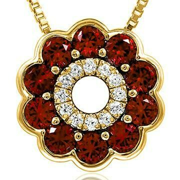 Floral Ruby Pendant with Diamond Accent Yellow Gold