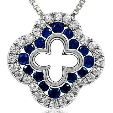 Clover Blue Sapphire Pendant with Diamond Accent White Gold