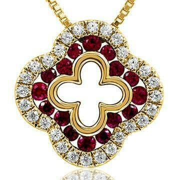 Clover Ruby Pendant with Diamond Accent Yellow Gold