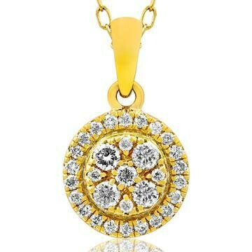 Round Diamond Cluster Necklace Yellow Gold
