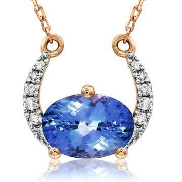 Crescent Moon Tanzanite Necklace with Diamond Accent Rose Gold