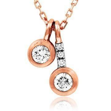 Two-Stone Diamond Bezel Necklace Rose Gold