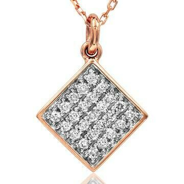 Diamond Pavé Square Necklace Rose Gold