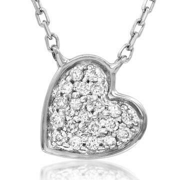 Diamond Pavé Heart Necklace White Gold