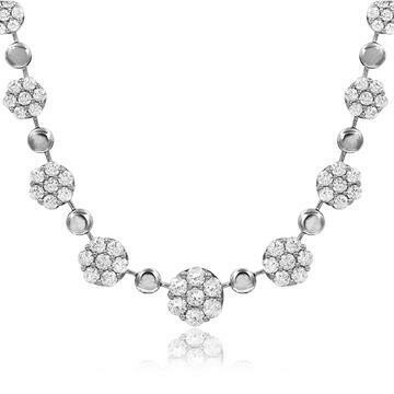 Diamond Cluster Necklace 18k White Gold