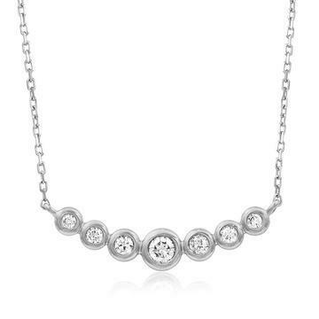 Diamond Bezel Necklace White Gold