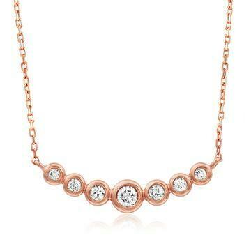 Diamond Bezel Necklace Rose Gold