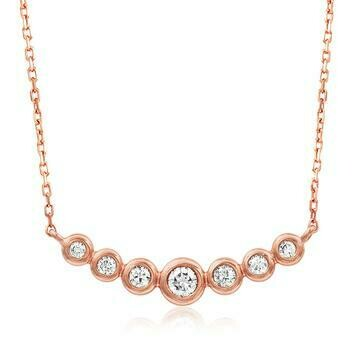 Diamond Bezel Necklace Rose Gold
