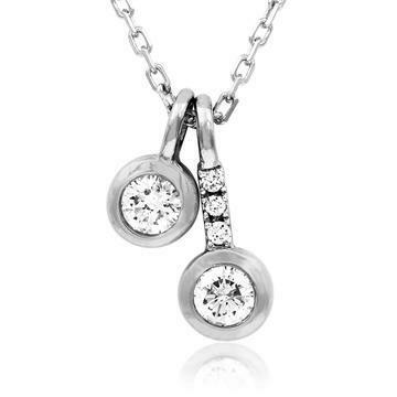 Two-Stone Diamond Bezel Necklace White Gold