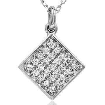 Diamond Pavé Square Necklace White Gold