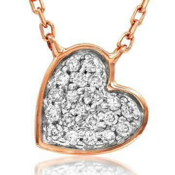 Diamond Pavé Heart Necklace White Gold