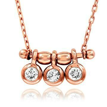 Three-Stone Dangle Diamond Necklace Rose Gold