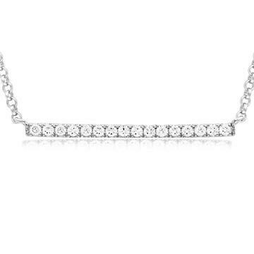 Diamond Bar Necklace White Gold