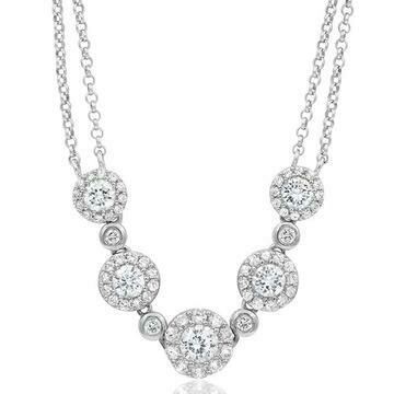 Two-String Diamond Cluster Necklace 18k White Gold