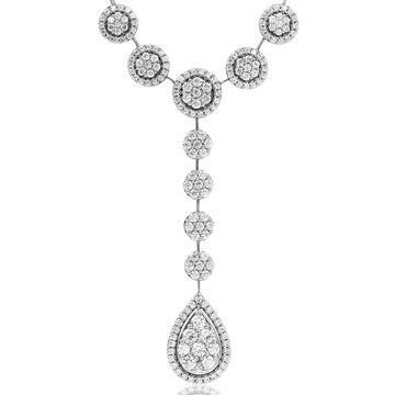 Diamond Cluster Necklace with Teardrop Pendant White Gold