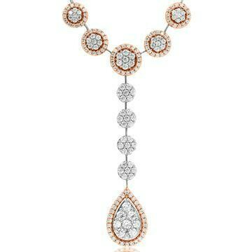Diamond Cluster Necklace with Teardrop Pendant Two Tone Gold