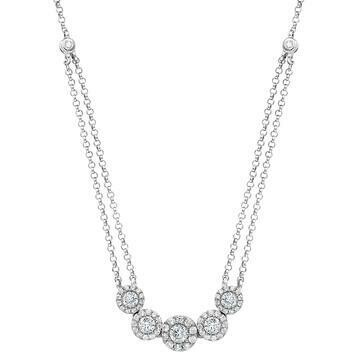 Two-String Diamond Cluster Necklace White Gold