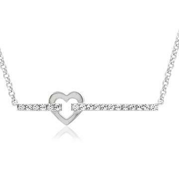 Diamond Bar Necklace with Heart White Gold