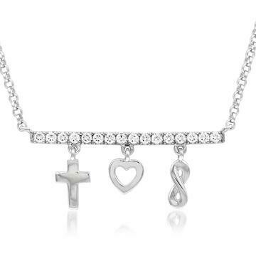 Diamond Bar Necklace with Dangle Charms White Gold