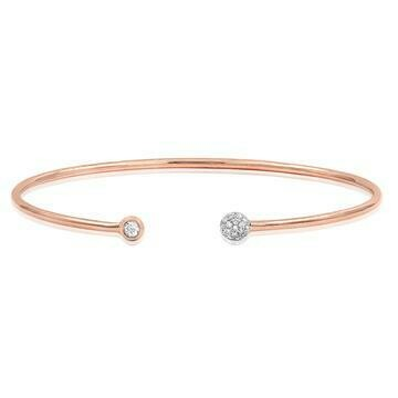 Open Gold Bangle with Diamond Cluster Rose Gold
