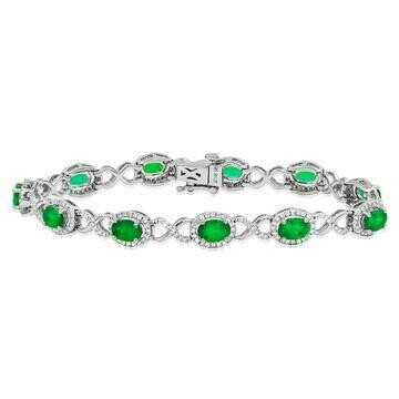 Open Gold Emerald Bangle with Diamond Cluster White Gold