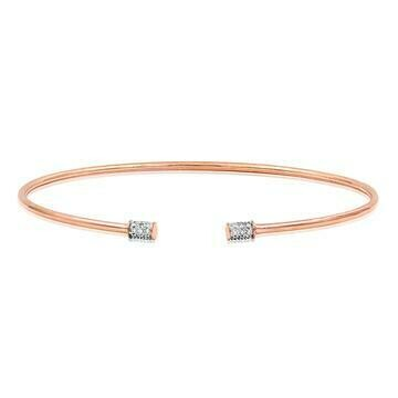Open Gold Bangle with Diamond Accent Rose Gold