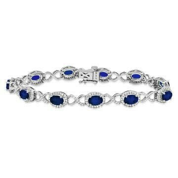 Open Gold Blue Sapphire Bangle with Diamond Cluster White Gold