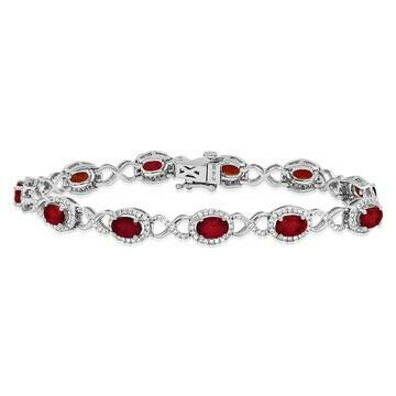Open Gold Ruby  Bangle with Diamond Cluster White Gold