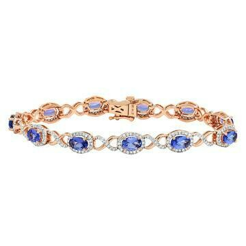 Open Gold Tanzanite Bangle with Diamond Cluster Rose Gold