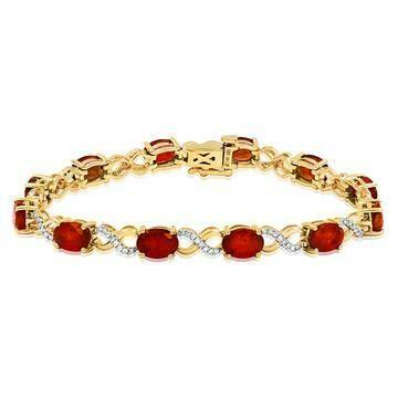 Oval Garnet Twist Bracelet with Diamond Accent Yellow Gold