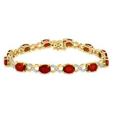 Oval Garnet Twist Bracelet with Diamond Accent Yellow Gold